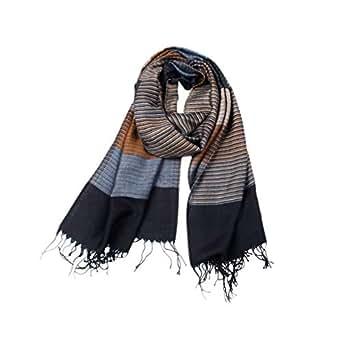 GUSTA Mens Winter Scarf Soft Long Color Block Stripe