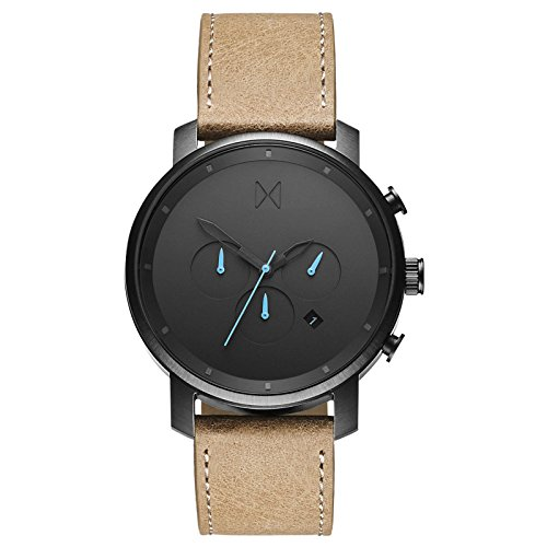 MVMT Chrono Watches | 45 MM Men's Analog Watch Chronograph | Leather Wristband (Gunmetal -