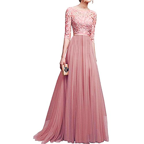 Chiffon Vintage Evening Gown - IWEMEK Women's Vintage Floral Lace 3/4 Sleeves Floor Length Retro Evening Cocktail Formal Bridesmaid Gown Long Maxi Dress