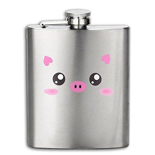 Cute Kawaii Pink Piggy Flasks Stainless Steel Liquor Flagon Retro Rum Whiskey AlcoholPocket Flask Liquor Flagon Retro Rum Whiskey Flask Great Gift 7OZ Lightweight