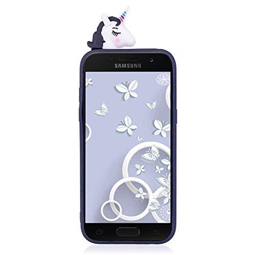 Funda para Samsung A5 2017, CaseLover 3D Panda Suave TPU Silicona Carcasa para Samsung Galaxy A5 2017 A520 Ultra Delgado Flexible Protectora Caso Mate Opaco Gel Goma Parachoques Tapa Anti Choque Trase Negro