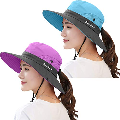 ZEXIAN 2 Pieces Women's Sun Hat UV Protection Ponytail Hat for Beach Fishing&Hiking