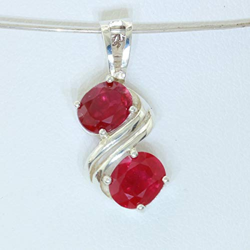 - Red Ruby Flux Veiled Lab Created Gemstones Handmade Silver Pendant Design 138