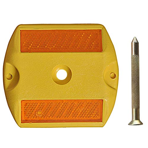 FASTECK ABS Plastic Reflective Studs Road Safety Base with Reflector and Nail (Yellow)