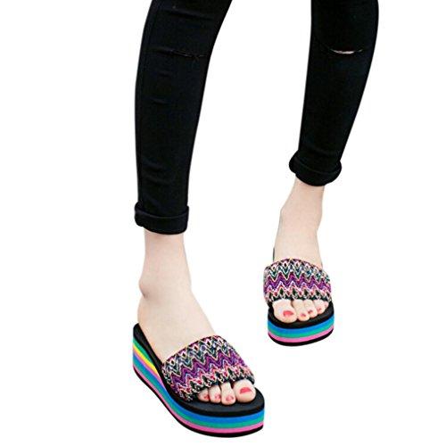 Fheaven Summer Sandals Slipper Womens Beach Rainbow Platform Wedges Sandals Comfortable Slipper Shoes Red
