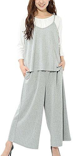 ナビゲーション友情チューリップ(ディーループ) D-LOOP UV 加工 3点セット キャミ Tシャツ 七分袖 ワイドパンツ ゆったり レディース 122265