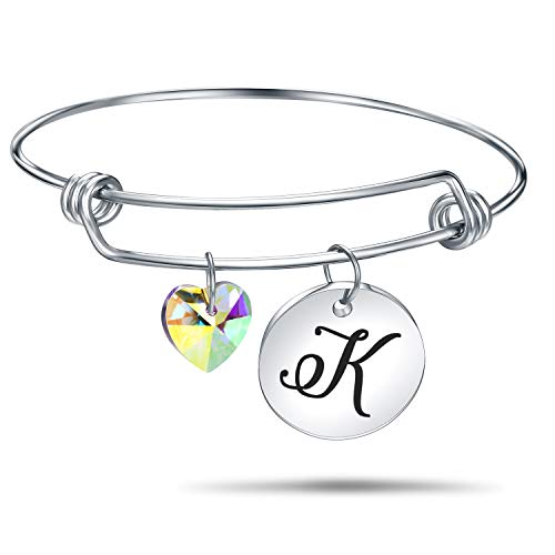 4MEMORYS Initial Alphabet Bracelet Letter Engraved Stainless Steel Material with Heart Crystal Personalized Charm Bangel Jewelry (K-Silver) -