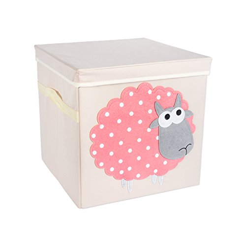 """DII Nursery or Playroom Storage Bins with Lids, Made To Fit Standard Cube Organizers, use for Toys, Clothing, Blankets, Books, & More (13x13x13"""") – Sheep"""