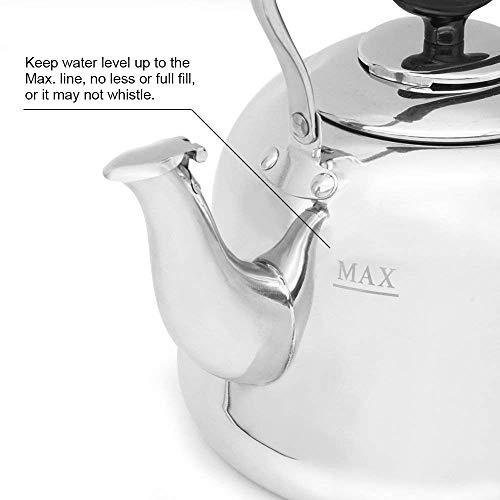 Tea Kettle Stovetop Teapot Stainless Steel Hot Water Kettle Whistling - Mirror Finsh,Folding Handle, Fast To Boil, 2 Liter Whistling Teakettles by Weftnom (Image #1)