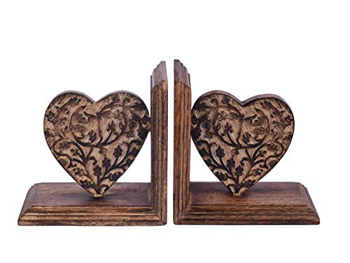 Artisans Of India Wooden Book Ends CD DVD Stand Rack Shelf Decorative Display Pair Bookend Bookshelf in Heart Shape