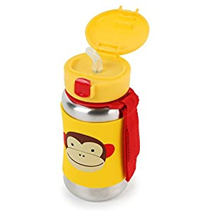 Skip Hop Baby Zoo Little Kid and Toddler Feeding Travel-To-Go Insulated Stainless Steel Straw Bottle, 12 oz, Multi Marshall Monkey