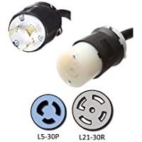 NEMA L5-30P to L21-30R Plug Adapter - 1 Foot, 30A/125V, 10 AWG - Iron Box # IBX-7775-01