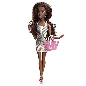 favourall Simulation Black Dolls Fashion African Girl Dolls 30cm/12inch Lifelike PVC Baby Play Doll Handmade Multi-joint…
