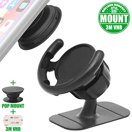 ebulous Car Phone Mount for Collapsible Grip & Stand, Smartphones and Tablets 360° Rotation Holder for Socket Users with Sticky Adhesive Used on Dashboard/Wall/Home/Desk/Mirror/Anywhere - Black]()
