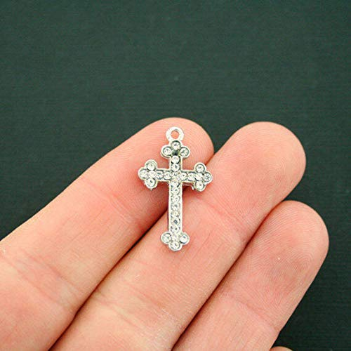 (2 Gothic Cross Charms Antique Silver Tone with Inset Rhinestones Jewelry Making Supply Pendant Bracelet DIY Crafting by Wholesale Charms)