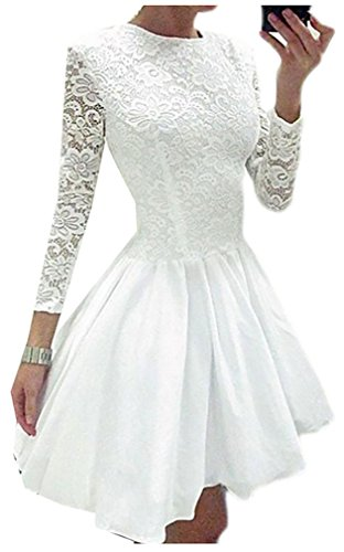 Womens Lace Long Cruiize Sleeve Casual Crewneck Dress Swing White Ruched vwqdRpEd