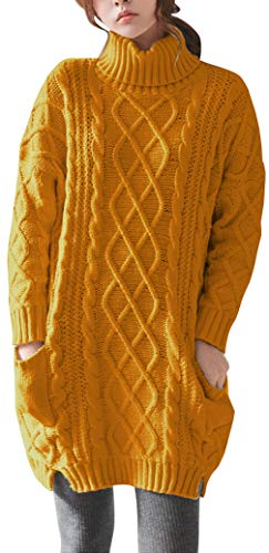 Liny Xin Women's Cashmere Knitted Turtleneck Long Sleeve Winter Wool Pullover Long Sweater Dresses Tops (M, Ginger)