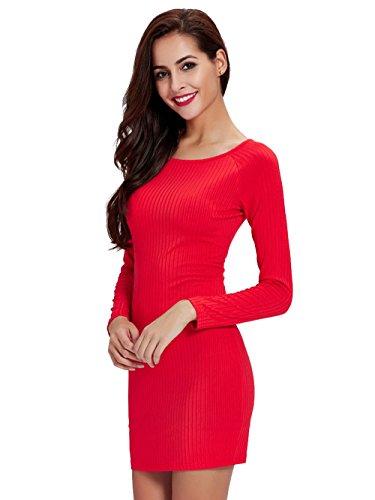 Jollychic - Vestido - ajustado - Manga Larga - para mujer Rosso