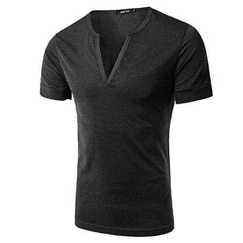 Herren Freizeit Solid Color V-Ausschnitt T-Shirts 3XL T-Shirts (XL, dunkelgrau)