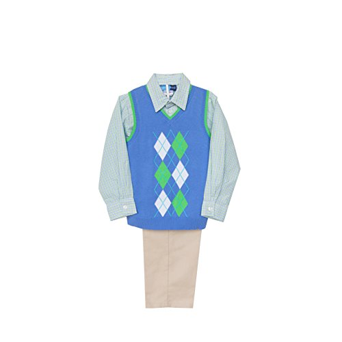 Good Lad 4/7 Boys Three Piece Blue Argyle Sweater Vest and Pant Set