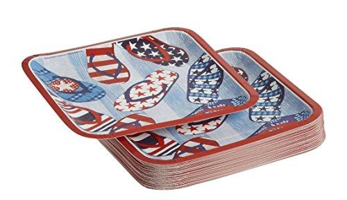 Americana Patriotic Flip Flop Sandals Square Paper Plates 9-Inch, 50 - Americana Plate