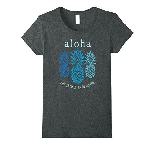 Womens Aloha Life Is Sweet Retro Pineapple Hawaii T Shirt Large Dark Heather