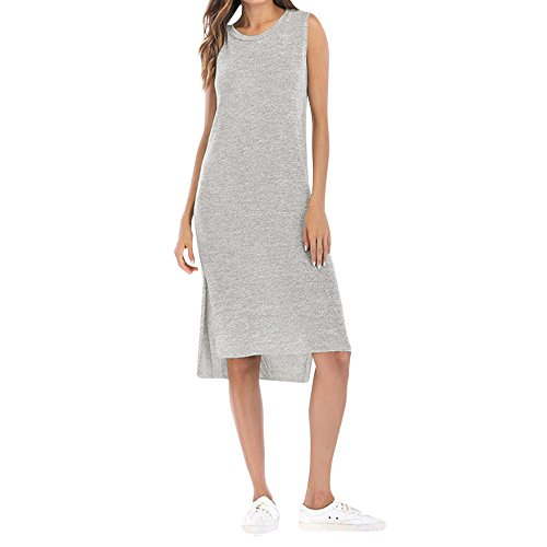Frauen Kimodo Kleid Grau Minikleid Split Rundhals Sommer rmel Damen dBWcnqrAwB