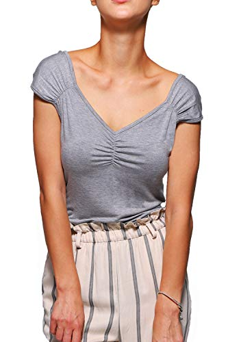 (Gollss Womens Grey Shirt Vintage Cap Sleeve T-Shirt Sexy V Neck Summer Tops Tee)