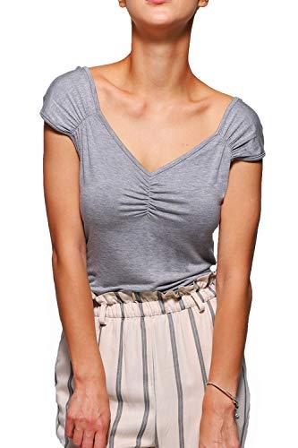 Gollss Womens Grey Shirt Vintage Cap Sleeve T-Shirt Sexy V Neck Summer Tops Tee (Tee Womens Cap Sleeve T-shirt)