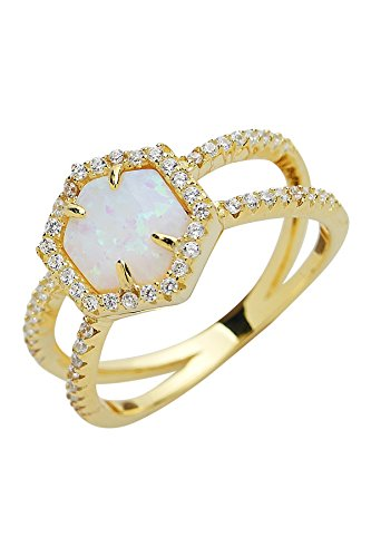 Sterling Forever - Gold Vermeil, Four-Prong Set Created Opal Double Band Crisscross Ring with Pave White CZ Stones (in Multiple Colors) (White, 6) ()