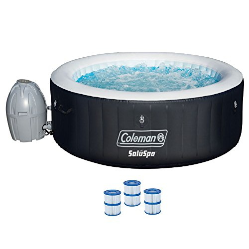 "Coleman SaluSpa 71 x 26"" Inflatable Spa 4-Person Hot Tub w/ 3 Filter Cartridges"