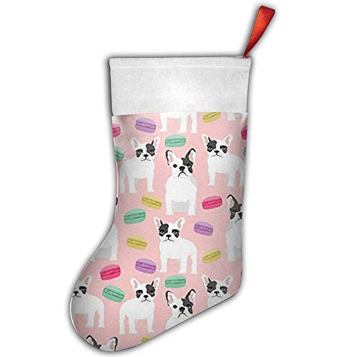 X-Large Classic Christmas Stockings - French Bulldog Macaron Sweets Print Fireplace Decoration