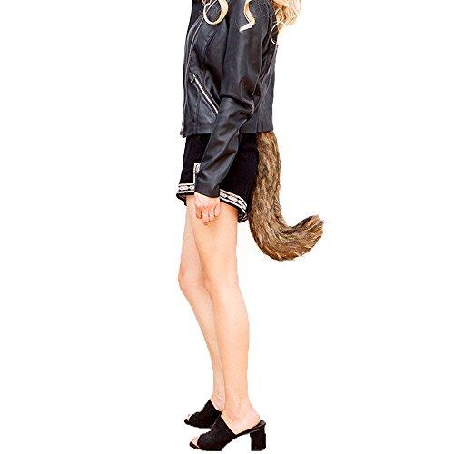 [Party Prop,Leegor Dancing Simulation Wacky Animal Long Fox Tail Dress up] (Costume Long Brown Hair)