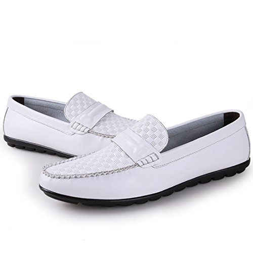 Minitoo Boys Mens Stripe Rhombus Casual Fashion Penny Loafers White