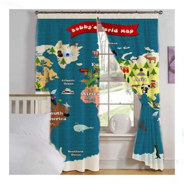 Amazoncom World Map For Kids Window Curtains Lets Explore