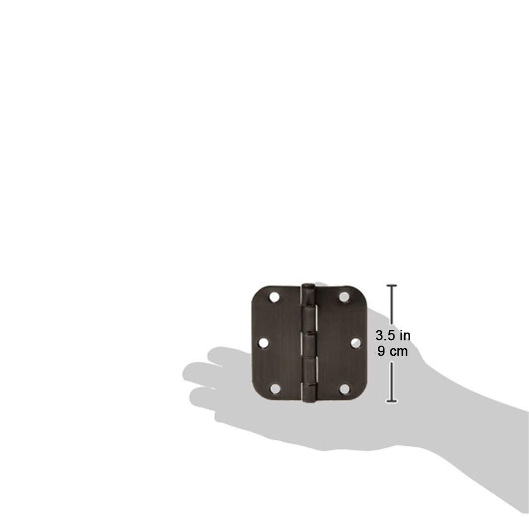 AmazonBasics Rounded 3.5'' x 3.5'' Door Hinges - 18 Pack - Oil Rubbed Bronze by AmazonBasics (Image #4)