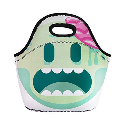 Semtomn Lunch Tote Bag Green Kawaii Cartoon Zombie Movie Abstract Brain Caricature Reusable Neoprene Insulated Thermal Outdoor Picnic Lunchbox for Men Women -