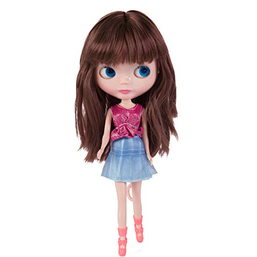 (Evursua Big Head BJD Dolls12inch,Custom Dolls Compatible with Blythe Doll Clothes 2 Set,Color Eyes Changing,Doll Collector/Girls Gift )