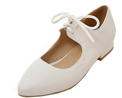 AllhqFashion Women's Low-Heels Solid Lace-up PU Pointed-Toe Court Shoes, White, 31 -