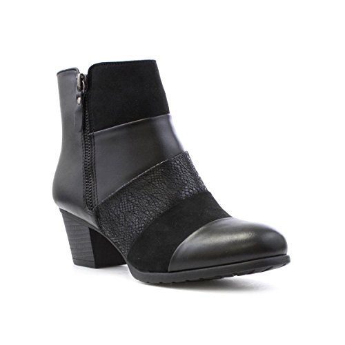 Lilley Womens Black Panel Heeled Ankle Boot Black