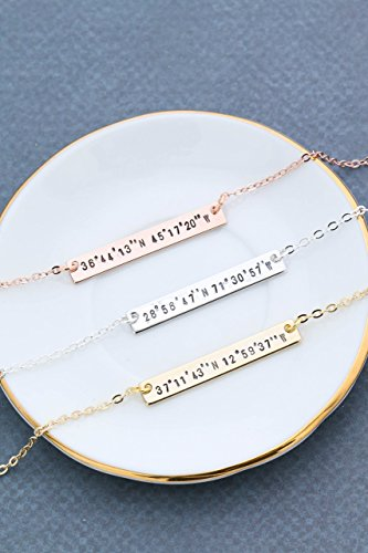 Personalized Silver Rose Coordinates Necklace product image