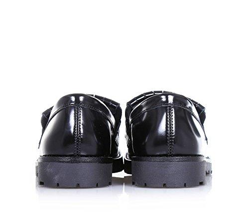 FLORENS - Mocassin noir en cuir brillant, avec petite frange et perles décoratives à l'avant, coutures visibles et semelle en caoutchouc, Fille, Filles, Femme, Femmes