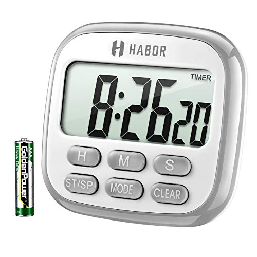Habor Digital Kitchen Timer, Cooking Timer, Large Display, Strong Magnet Back, Loud Alarm, Memory Function, 12-Hour Display Clock, Count-Up & Count Down for Cooking Baking Sports Games Office ()