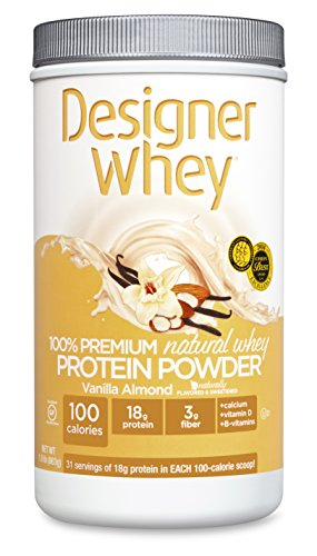 DESIGNER WHEY 100% Premium Whey Protein Powder, Vanille et amandes, £ 1,9 Container
