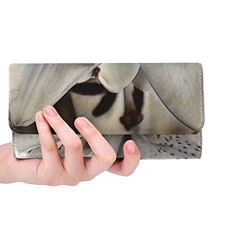 Unique Custom Flower Blossom Bloom White Lily Daylily Women Trifold Wallet Long Purse Credit Card Holder Case Handbag ()
