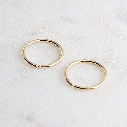Gold Hoop Earrings, 10 x 0.8mm Gold Hugging Hoop Earrings, Tiny Hoops, Gold Handmade, Everyday Earrings, Minimalist Earrings, Round Hoop ()