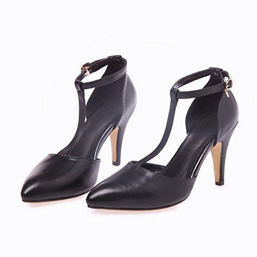 Allhqfashion Dames Gesloten Punt Hoge Hakken Koe Lederen Stevige Sandalen Met Afneembaar Zwart