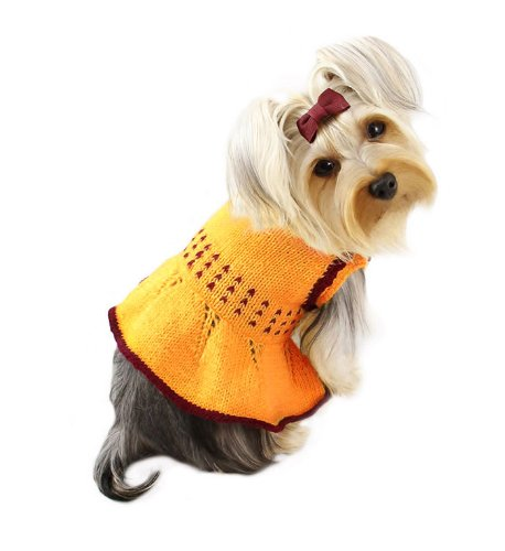 Adorable Hand Knitted Dog Dress with Dotted Waist Decoration - XS