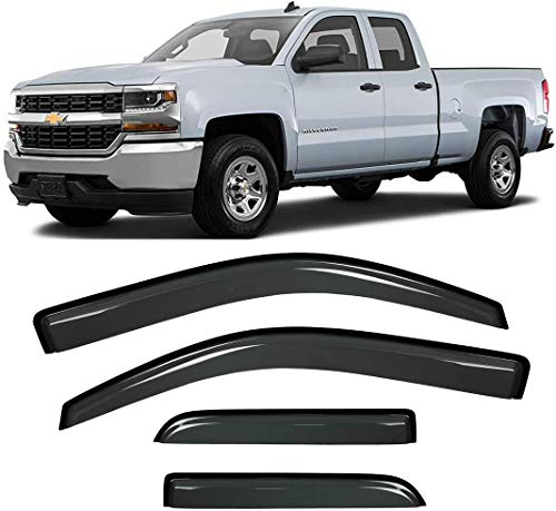 4pcs For 2014 2015 2016 2017 2018 Chevy Silverado/GMC Sierra 1500 2500 3500 HD Double cab/Extended cab Sun Rain Guard Vent Shade Deflectors Window Visors