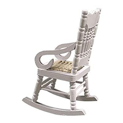 Hoolick 1/12 Miniature Furniture Model, Exquisite Tiny Wood Rocking Chair - Home Décor Ornament, Dollhouse Accessory, Pretend Play, Scene Work: Home & Kitchen